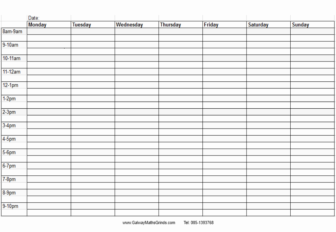 Weekly Schedule with Times Template Awesome 9 Best Of Printable Blank Weekly Time Slots