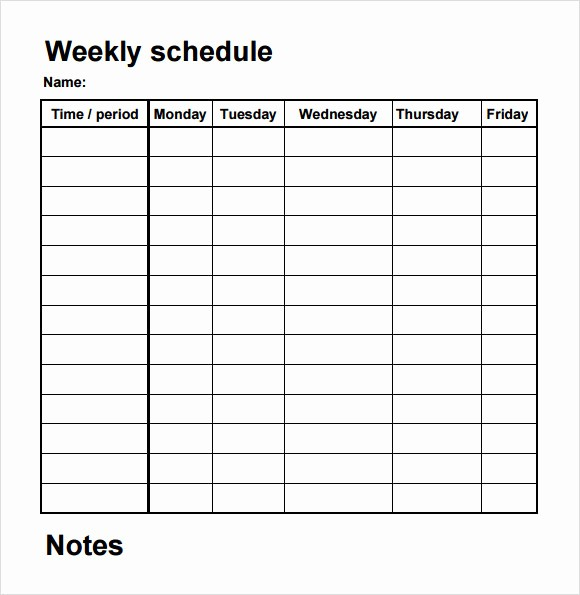 Weekly Schedule with Times Template Beautiful 5 Sample Blank Schedule Templates to Download