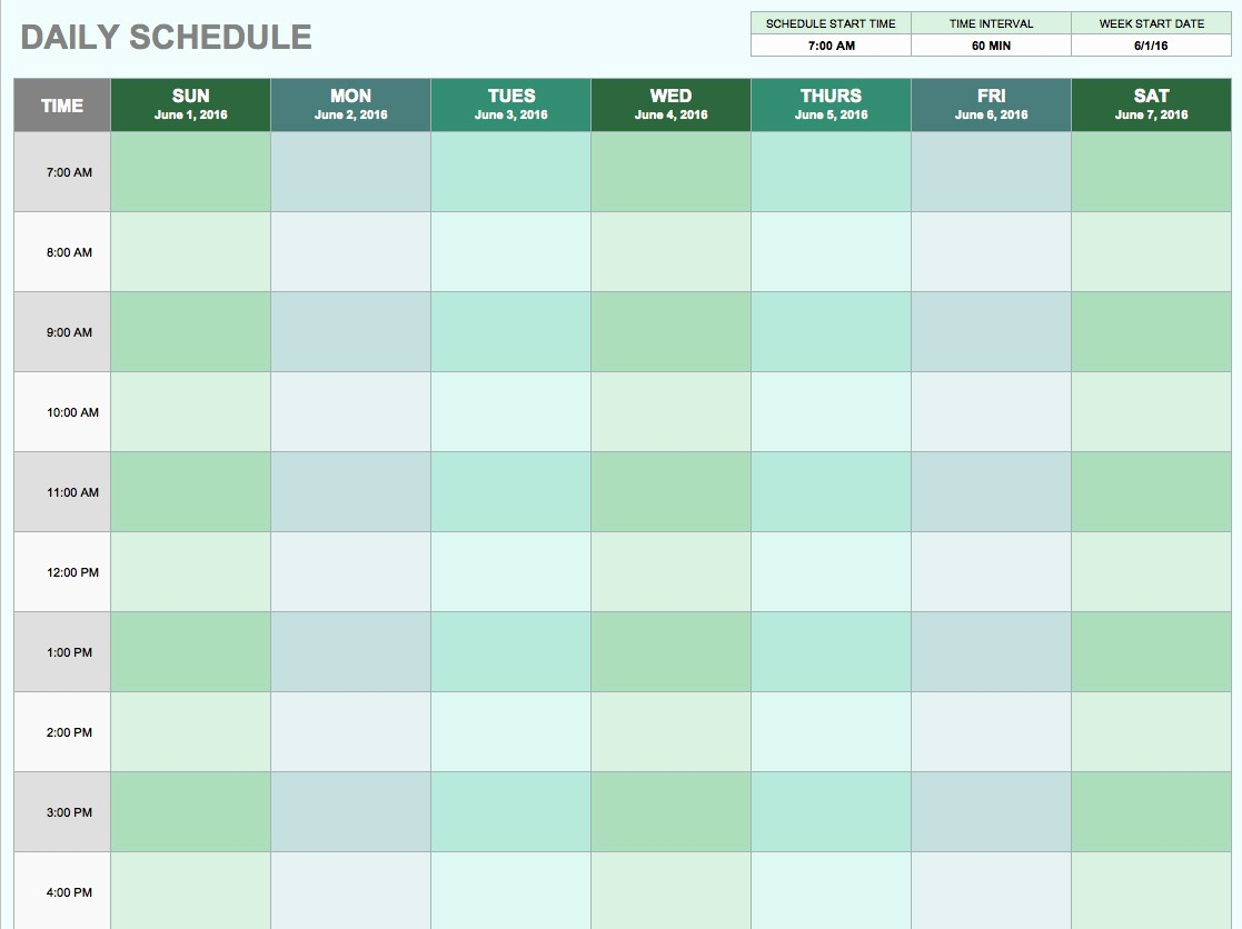 Weekly Schedule with Times Template Inspirational Free Daily Schedule Templates for Excel Smartsheet