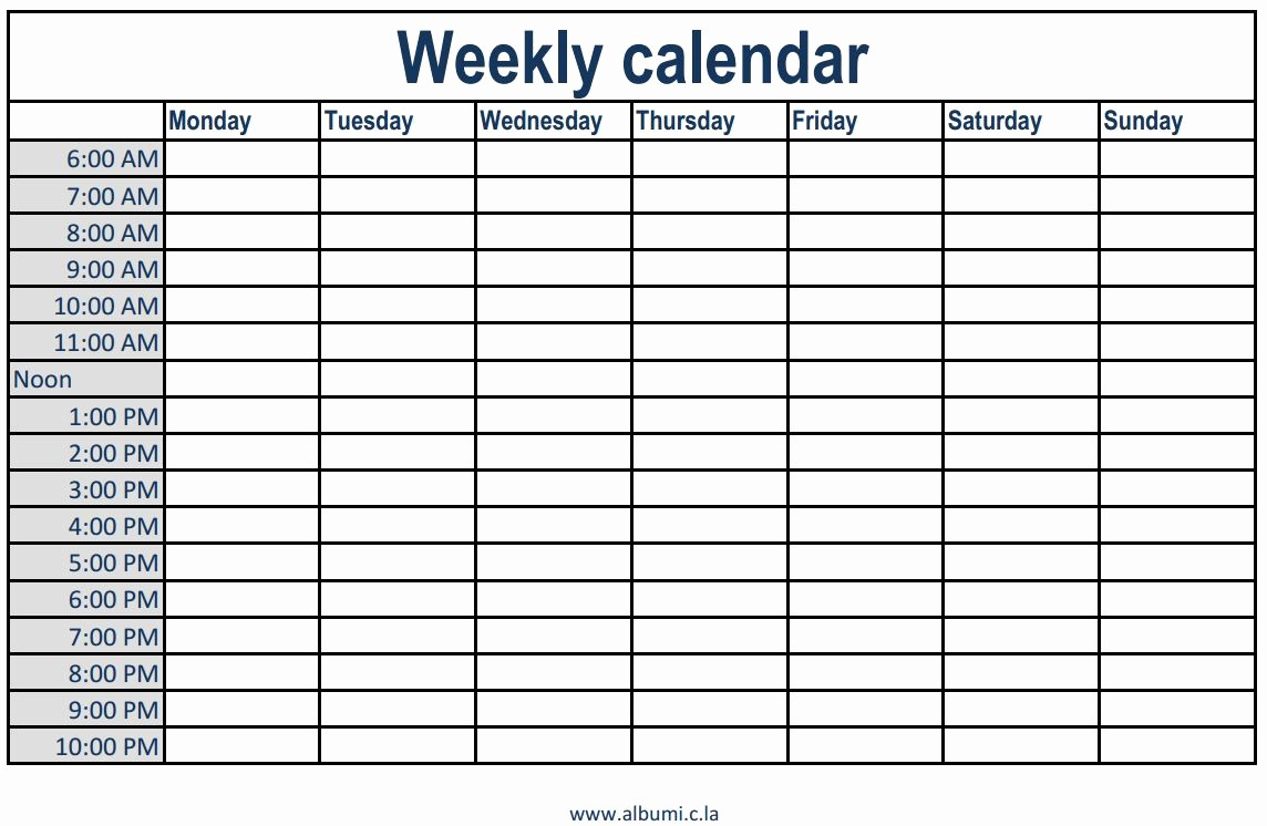 Weekly Schedule with Times Template Inspirational Weekly Calendar with Times