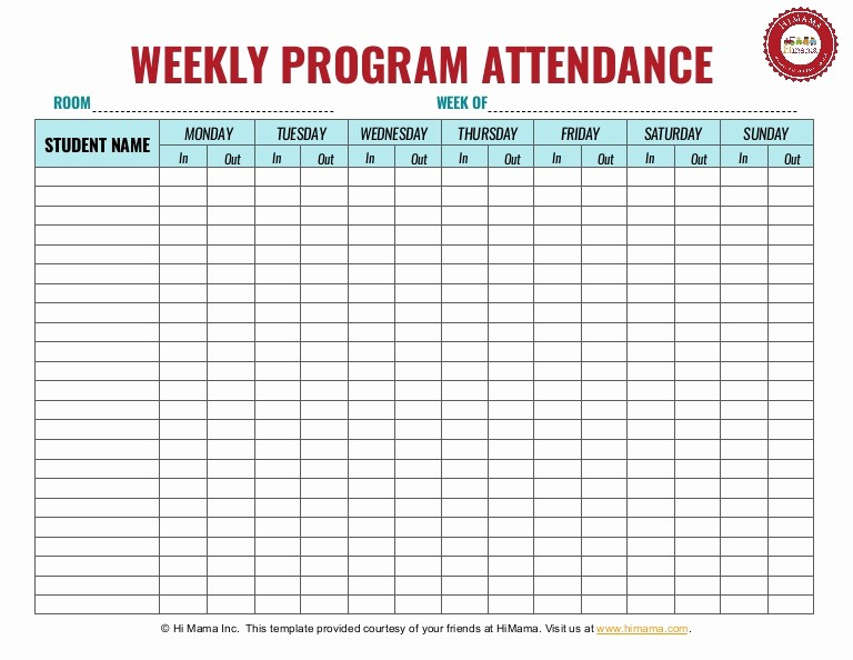 Weekly Sign In Sheet Template Inspirational Daycare Sign In Sheet Template Weekly