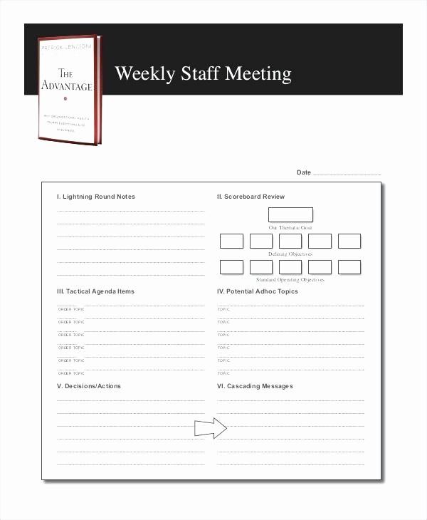 Weekly Staff Meeting Agenda Template Awesome 1 Week Schedule Template Blank Weekly Calendar Agenda