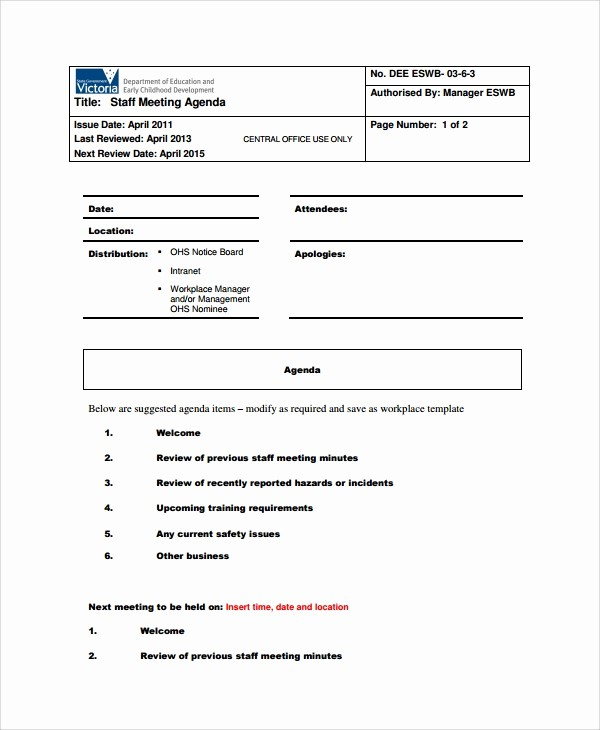 Weekly Staff Meeting Agenda Template Awesome 7 Sample Staff Meeting Agenda Templates