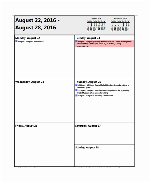 Weekly Staff Meeting Agenda Template Awesome 8 Sample Weekly Agenda Templates