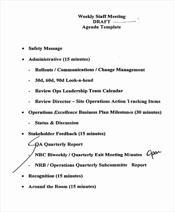 Weekly Staff Meeting Agenda Template Best Of 41 Meeting Agenda Templates