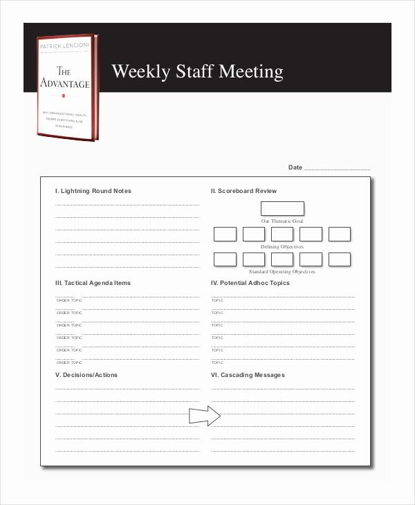 Weekly Staff Meeting Agenda Template Best Of 59 Meeting Agenda Examples & Samples Doc Pdf