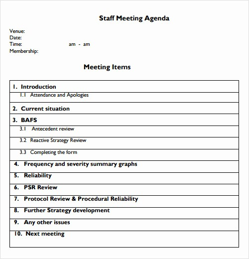 Weekly Staff Meeting Agenda Template Lovely 12 Sample Agenda Templates