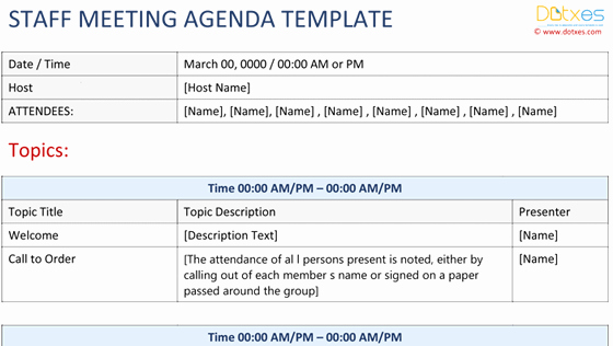 Weekly Staff Meeting Agenda Template Lovely Meeting Agenda Template Excel Dotxes