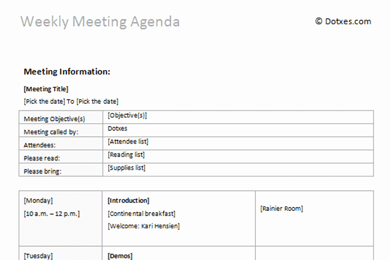 Weekly Staff Meeting Agenda Template Lovely Meeting Agenda Templates Dotxes
