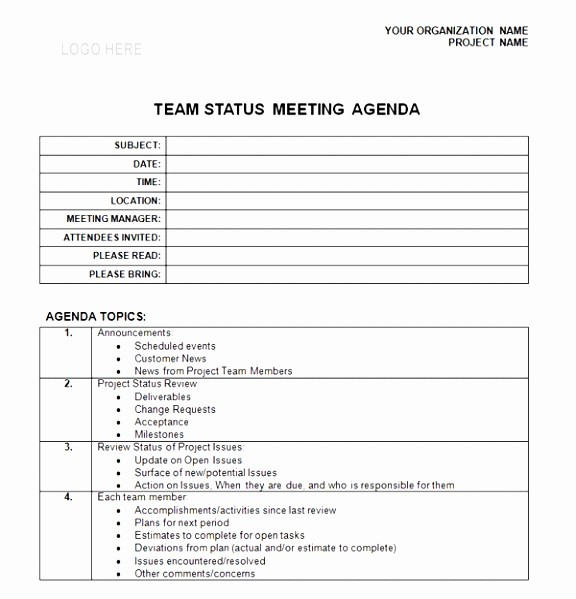 Weekly Staff Meeting Agenda Template New 9 Weekly Staff Meeting Agenda Template Pttgi