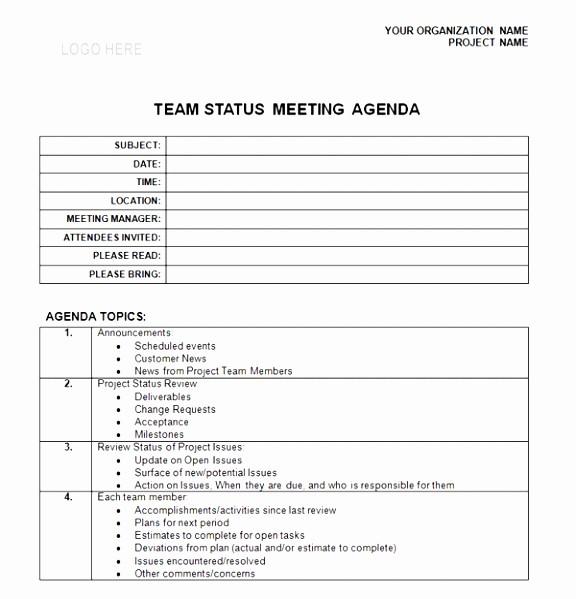 weekly staff meeting agenda template