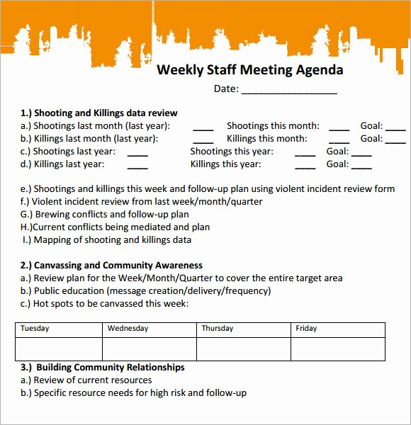 Weekly Staff Meeting Agenda Template Unique 5 Staff Meeting Agenda Samples