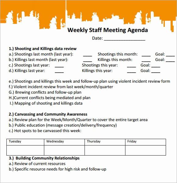 Weekly Staff Meeting Agenda Template Unique 5 Staff Meeting Agenda Samples