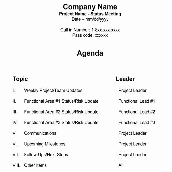 Weekly Team Meeting Agenda Template Awesome Free Team Meeting Agenda Template for Managers & Project Teams