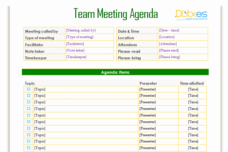 Weekly Team Meeting Agenda Template Beautiful Team Meeting Agenda Template Informal Dotxes