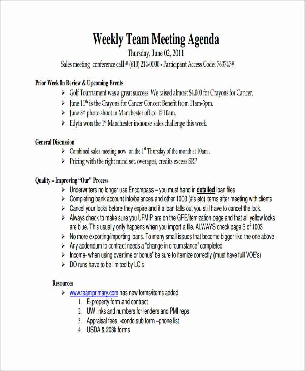 Weekly Team Meeting Agenda Template Lovely 46 Meeting Agenda Templates
