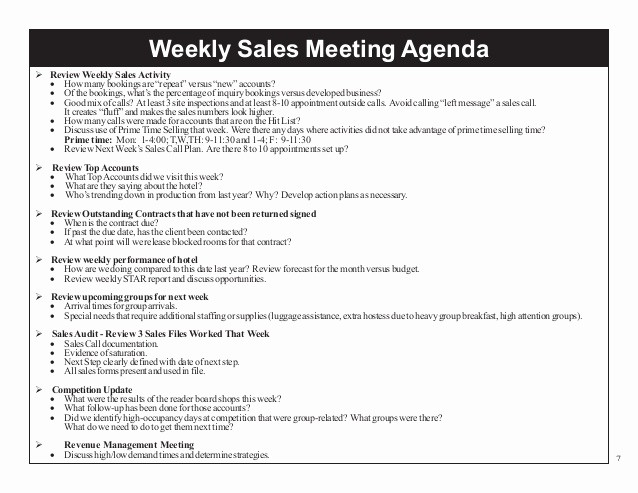 Weekly Team Meeting Agenda Template Luxury Hhc 2014 Managing Your Sales Efforts for Results