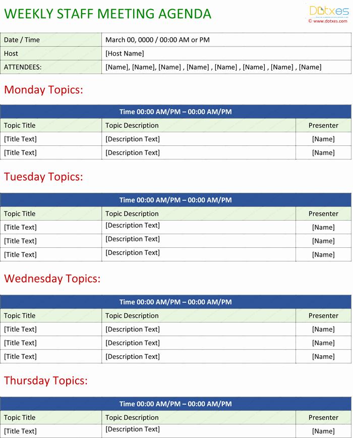 Weekly Team Meeting Agenda Template New Staff Meeting Agenda Template Write An Effective Agenda