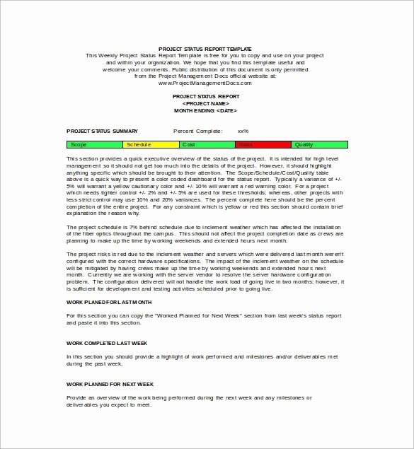 Weekly Team Status Report Template Fresh Weekly Status Report Template 9 Download Free Documents