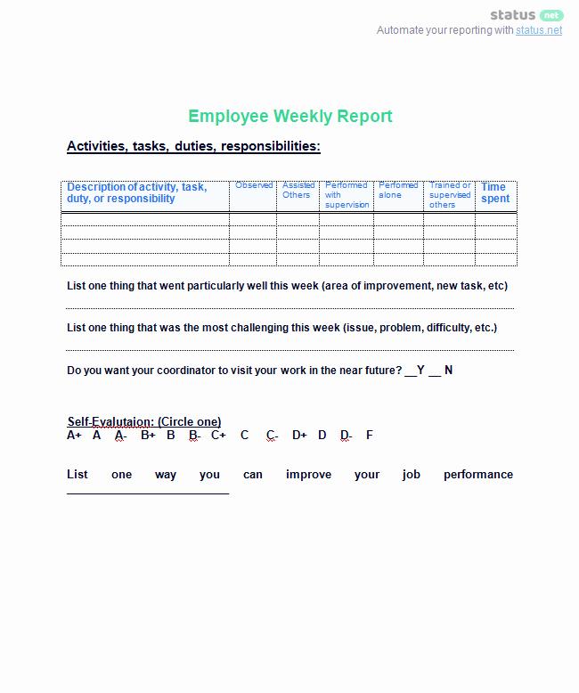 Weekly Team Status Report Template Inspirational 6 Awesome Weekly Status Report Templates