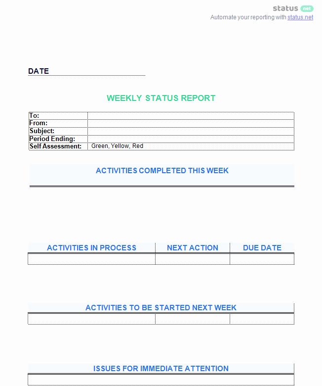 Weekly Team Status Report Template Luxury 6 Awesome Weekly Status Report Templates