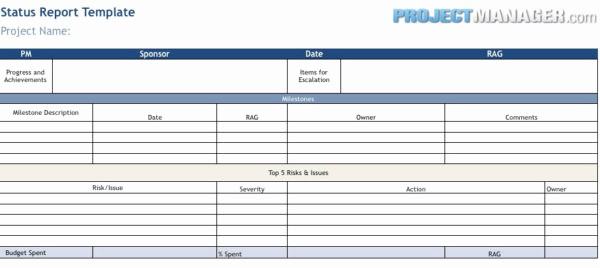 Weekly Team Status Report Template New Status Report Template Projectmanager