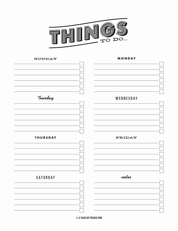 Weekly Things to Do List Best Of Weekly to Do List Template Pdf