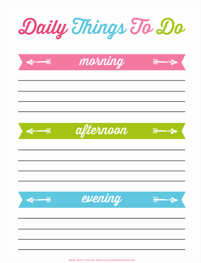 Weekly Things to Do List Elegant Daily to Do List Printable for Free Beautiful Dawn Designs
