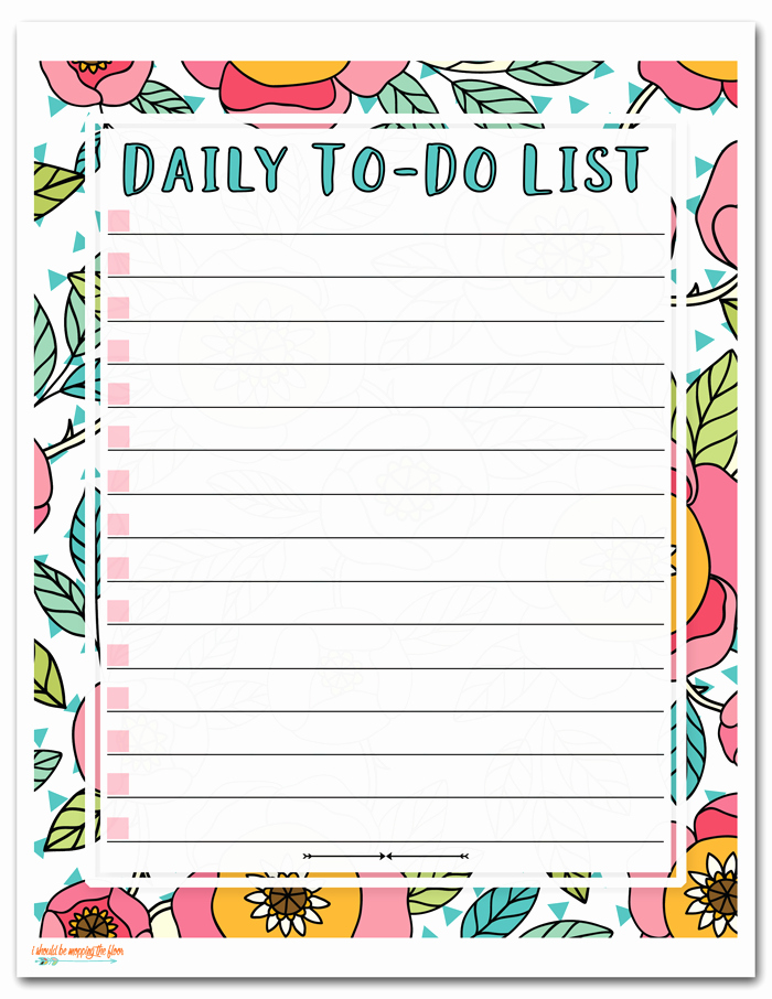 Weekly Things to Do List Fresh I Should Be Mopping the Floor Free Printable to Do List