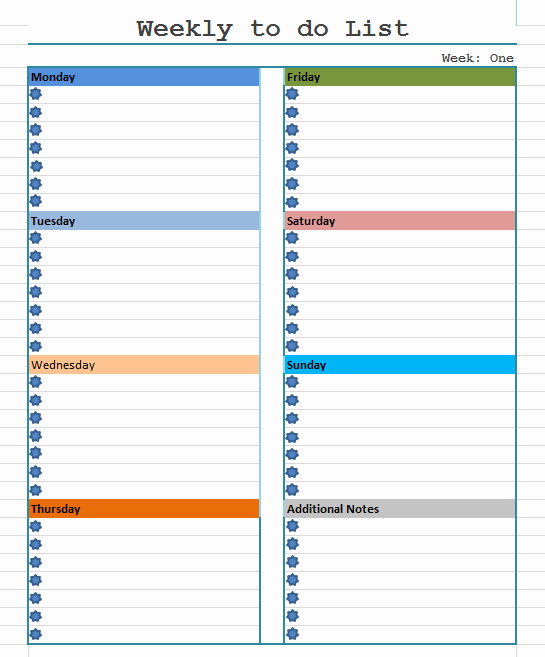 Weekly Things to Do List Inspirational to Do List Template