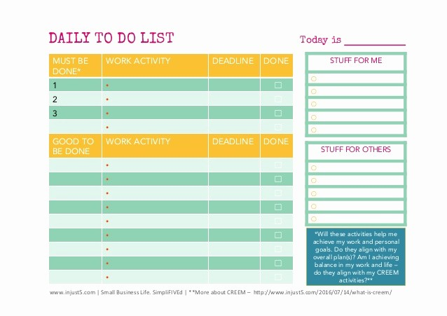Weekly Things to Do List Lovely Daily and and Weekly to Do List Templates for Small Business