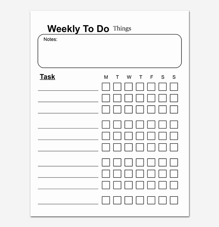 Weekly Things to Do List Lovely Things to Do List Template 20 Printable Checklists