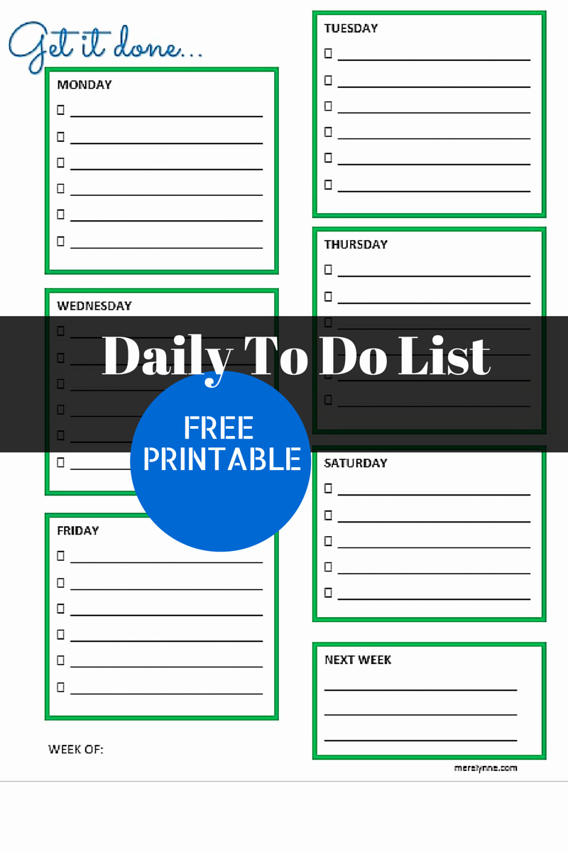 Weekly Things to Do List Unique Get It Done Daily to Do List and Free Printable