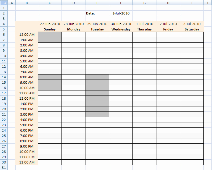 Weekly Time Schedule Template Excel Beautiful Highlight Specific Time Ranges In A Weekly Schedule