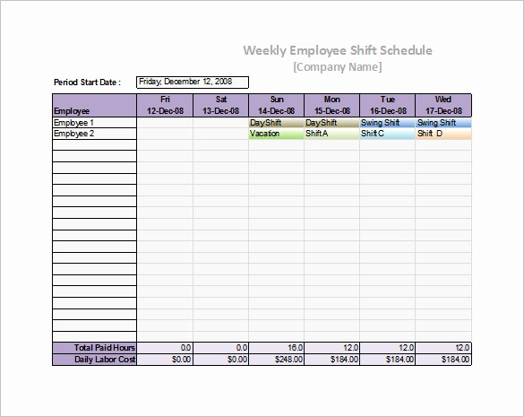 microsoft excel staff schedule template