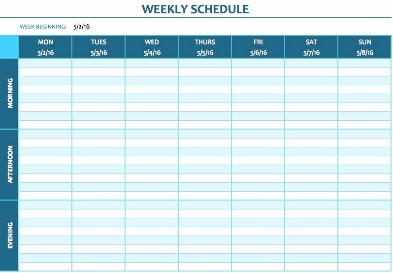 Weekly Time Schedule Template Excel Luxury Free Weekly Schedule Templates for Excel Smartsheet