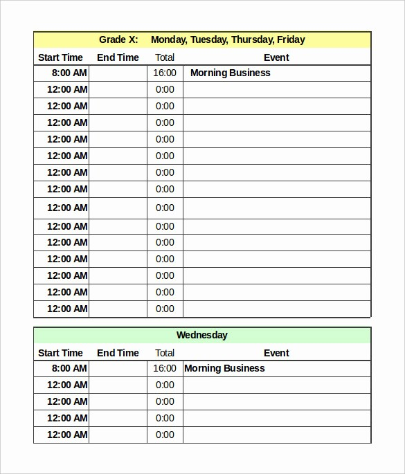 Weekly Time Schedule Template Excel Unique Daily Schedule Template 37 Free Word Excel Pdf