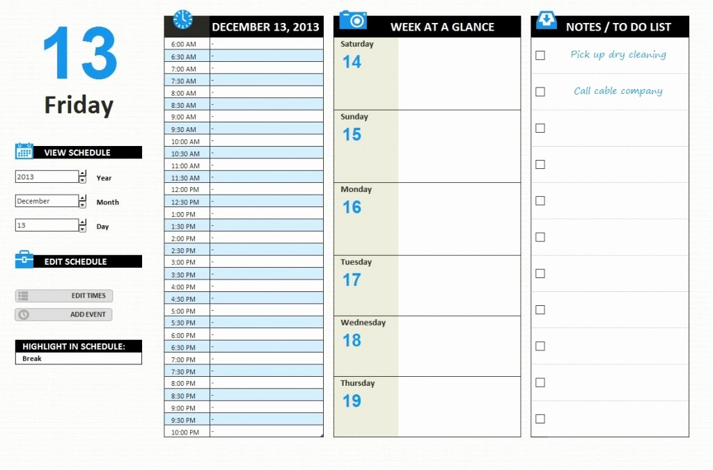 Weekly Time Schedule Template Excel Unique Daily Work Schedule Template Excel
