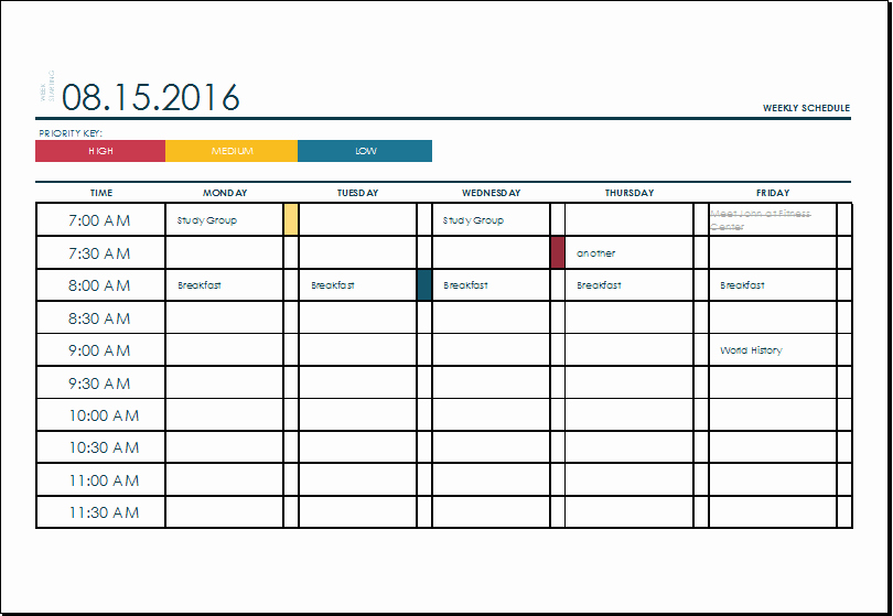 Weekly Time Schedule Template Excel Unique Ms Excel Weekly College Tasks Schedule Template