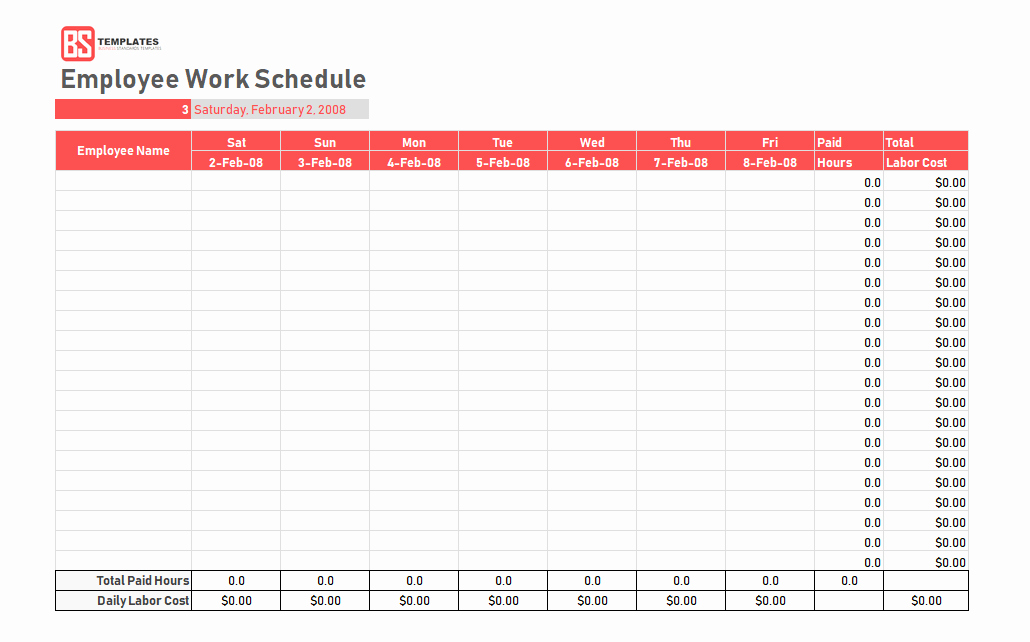 Weekly Work Schedule Template Excel Awesome Work Schedule Template Daily Weekly