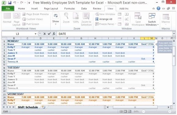 Weekly Work Schedule Template Excel Beautiful Free Weekly Employee Shift Template for Excel