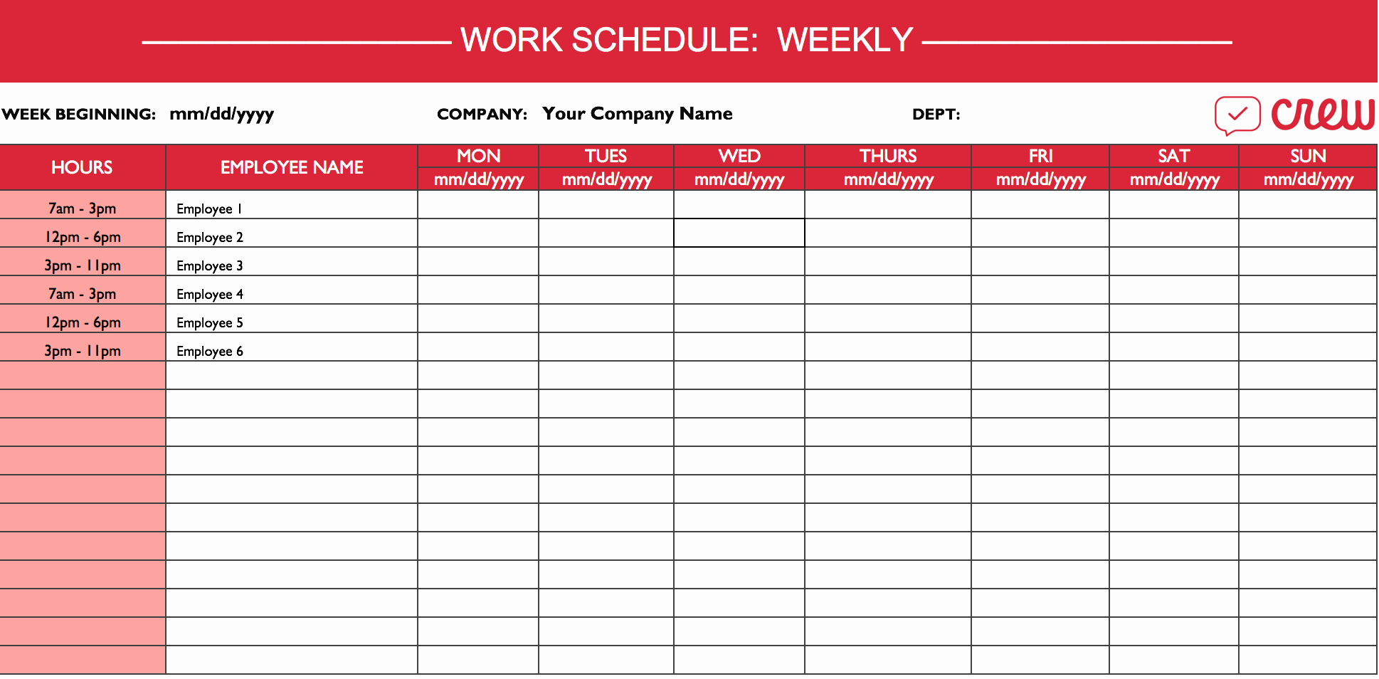 Weekly Work Schedule Template Excel Beautiful Weekly Work Schedule Template I Crew