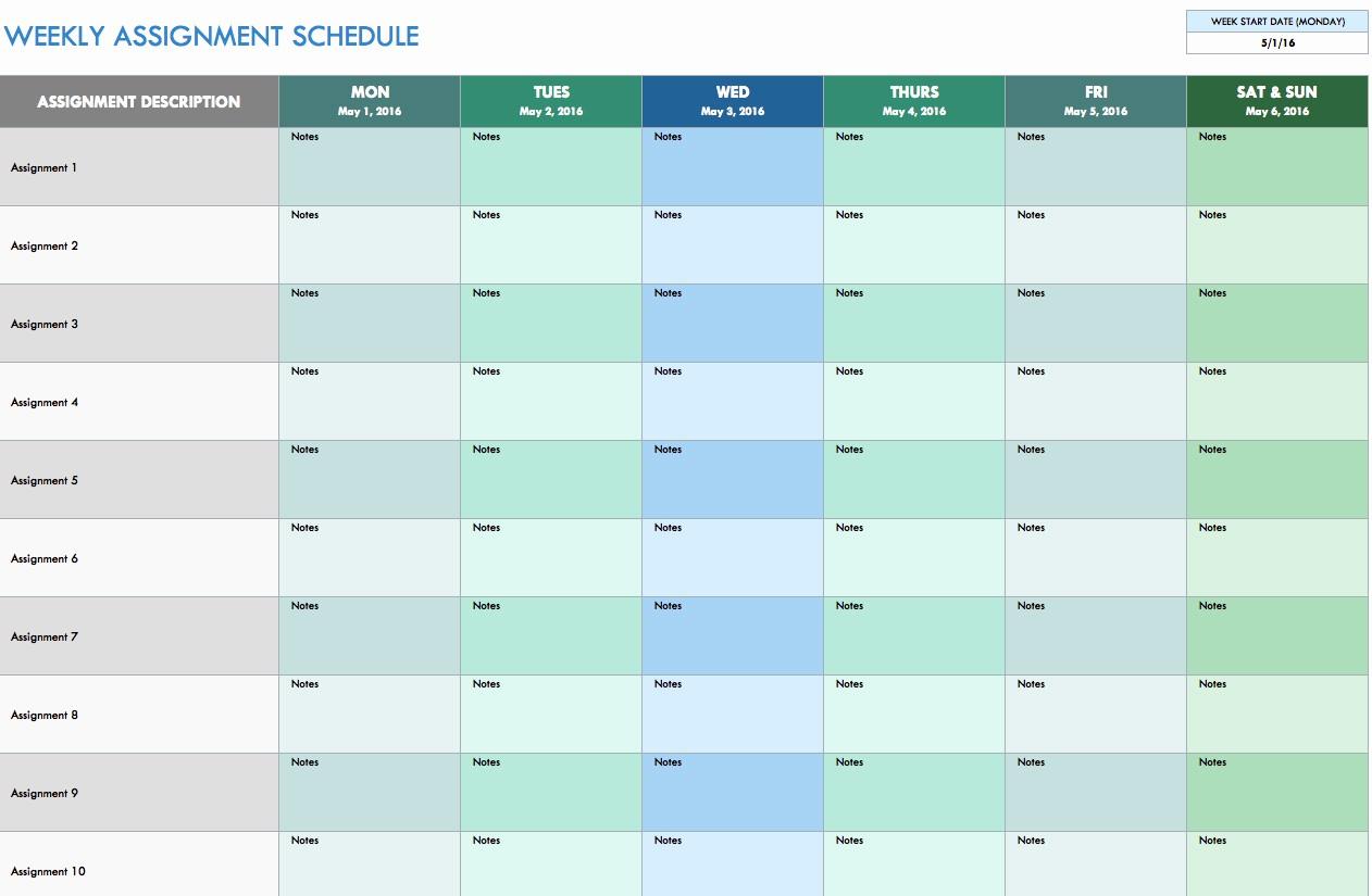Weekly Work Schedule Template Excel Best Of Free Weekly Schedule Templates for Excel Smartsheet