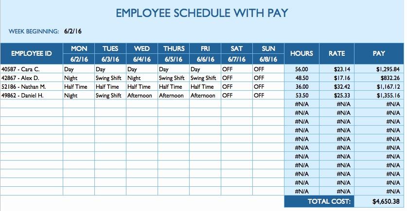 Weekly Work Schedule Template Excel Fresh Free Daily Schedule Templates for Excel Smartsheet
