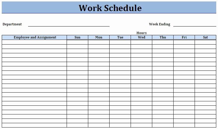 Weekly Work Schedule Template Excel Inspirational Weekly Work Schedule Template