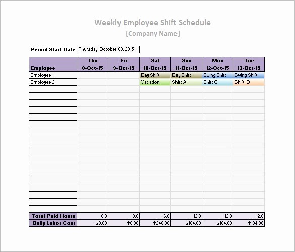 Weekly Work Schedule Template Excel Lovely Free Work Schedule Templates Weekly Monthly Daily