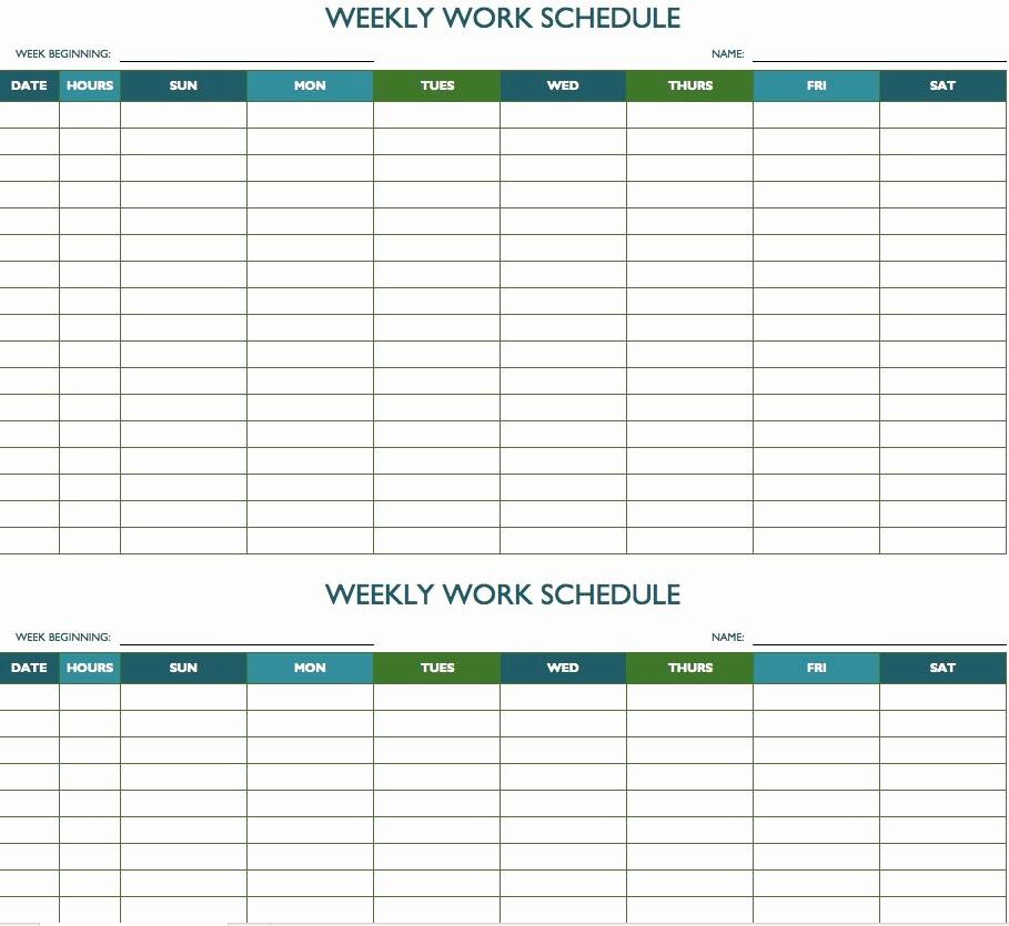 Weekly Work Schedule Template Excel Luxury Free Weekly Schedule Templates for Excel Smartsheet