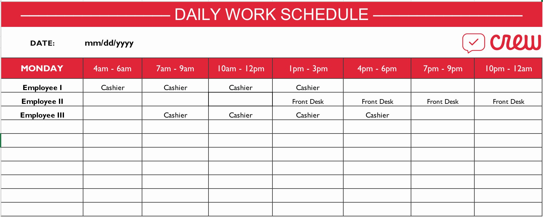 Weekly Work Schedule Template Excel New Employee Schedule Templates Example Of Spreadshee Employee