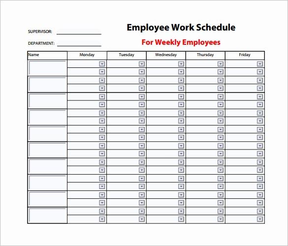 Weekly Work Schedule Template Excel Unique Employee Work Schedule Template – 10 Free Word Excel