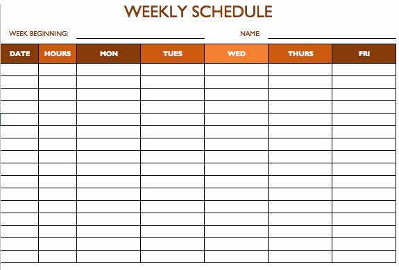 Weekly Work Schedule Template Word Awesome Free Work Schedule Templates for Word and Excel